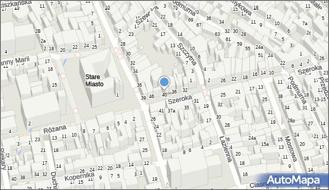 Toruń, Szeroka, 40, mapa Torunia