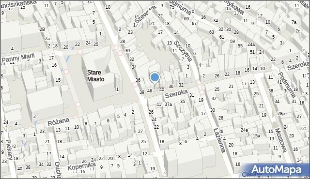 Toruń, Szeroka, 44, mapa Torunia