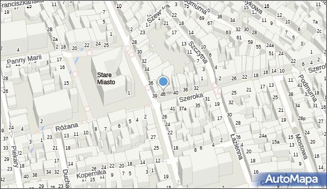 Toruń, Szeroka, 46, mapa Torunia