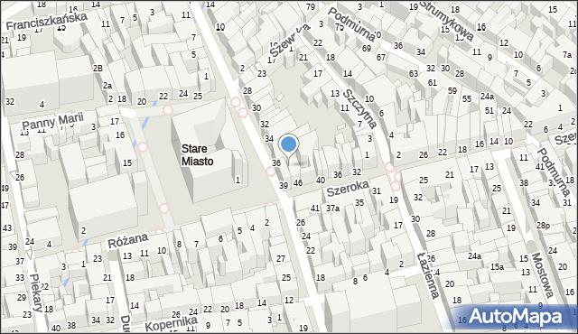 Toruń, Szeroka, 50, mapa Torunia