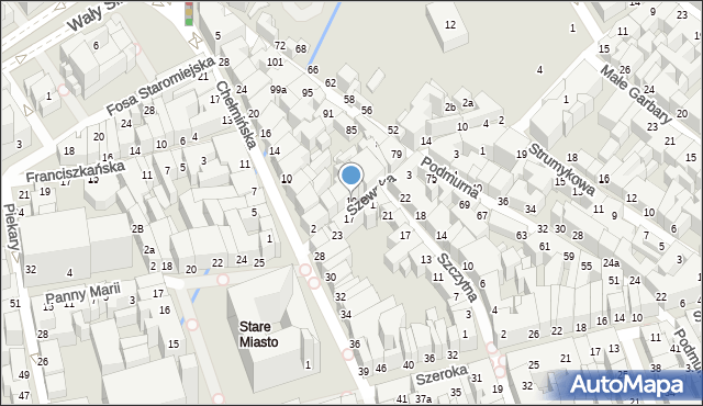 Toruń, Szewska, 10, mapa Torunia