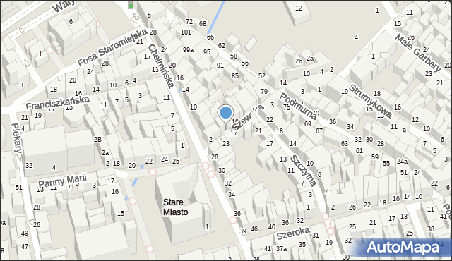 Toruń, Szewska, 12, mapa Torunia