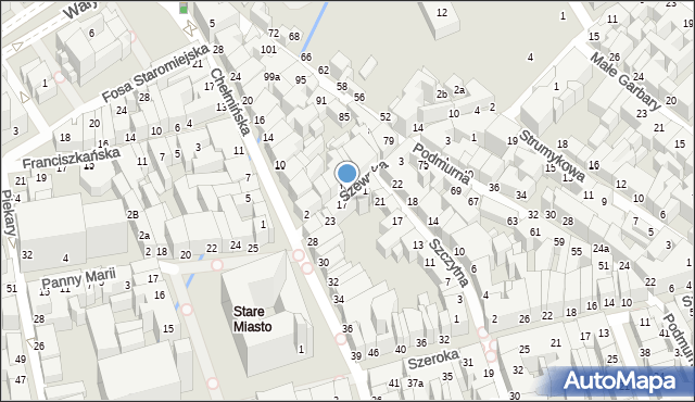 Toruń, Szewska, 15, mapa Torunia