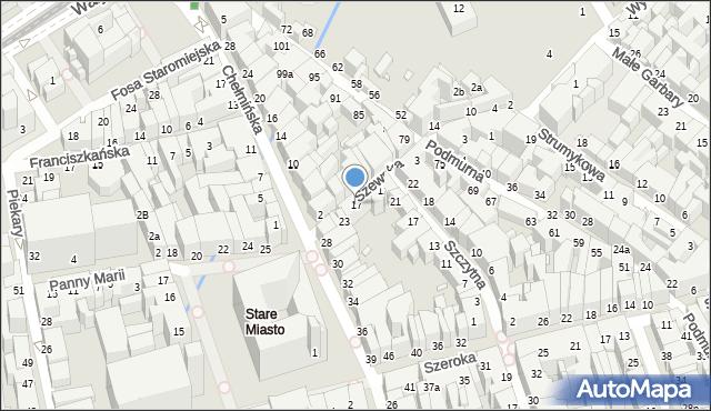 Toruń, Szewska, 17, mapa Torunia