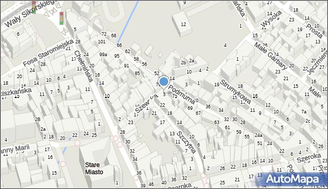 Toruń, Szewska, 3, mapa Torunia