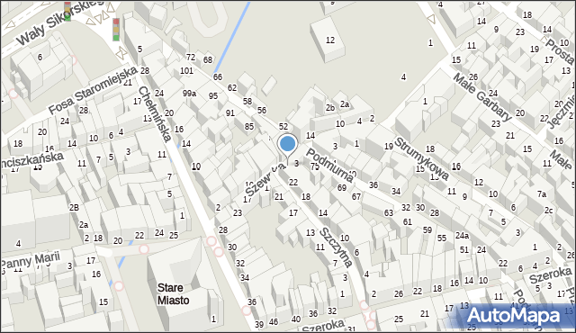 Toruń, Szewska, 5, mapa Torunia