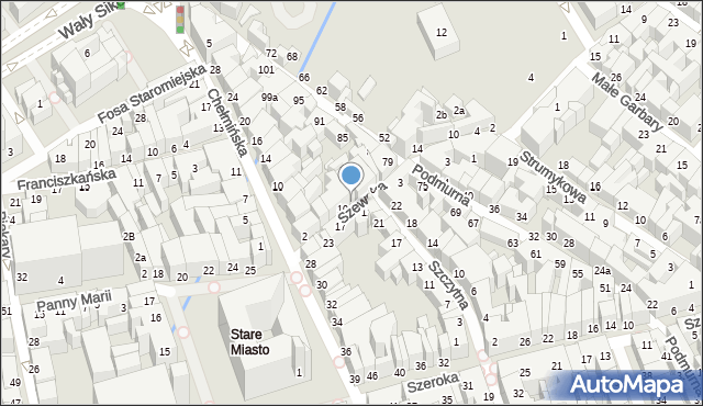 Toruń, Szewska, 8, mapa Torunia