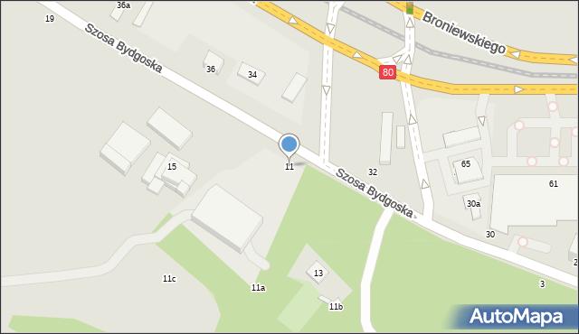Toruń, Szosa Bydgoska, 11, mapa Torunia