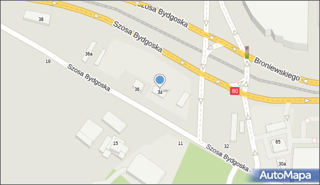 Toruń, Szosa Bydgoska, 34, mapa Torunia
