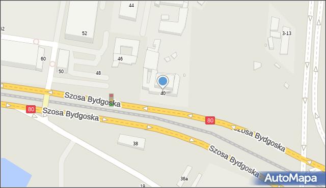 Toruń, Szosa Bydgoska, 40, mapa Torunia