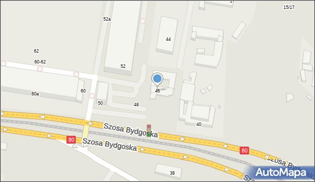 Toruń, Szosa Bydgoska, 46, mapa Torunia