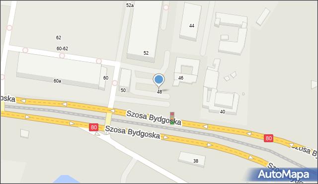 Toruń, Szosa Bydgoska, 48, mapa Torunia