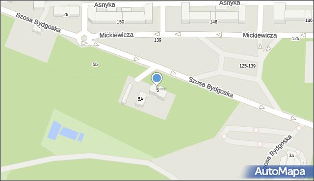 Toruń, Szosa Bydgoska, 5, mapa Torunia