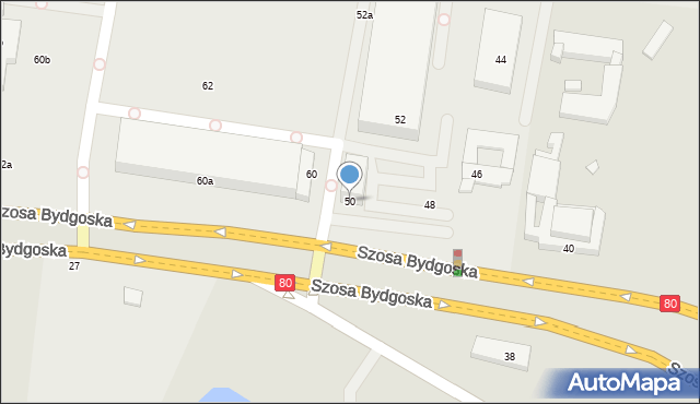 Toruń, Szosa Bydgoska, 50, mapa Torunia