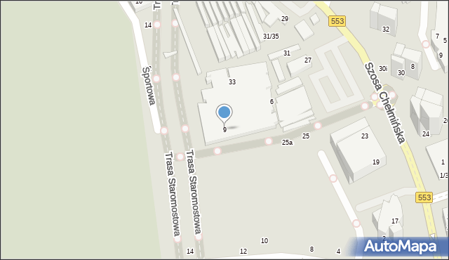Toruń, Szosa Chełmińska, 1, mapa Torunia