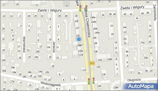 Toruń, Szosa Chełmińska, 119d, mapa Torunia