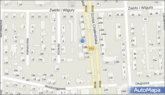 Toruń, Szosa Chełmińska, 121, mapa Torunia