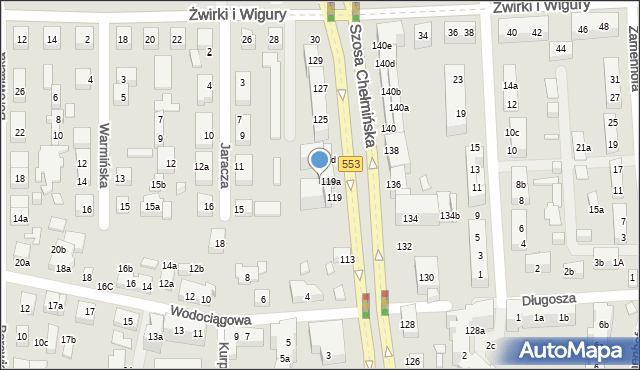 Toruń, Szosa Chełmińska, 121a, mapa Torunia