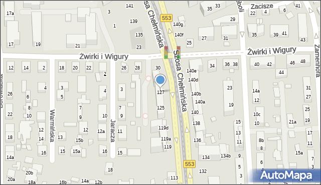 Toruń, Szosa Chełmińska, 127, mapa Torunia