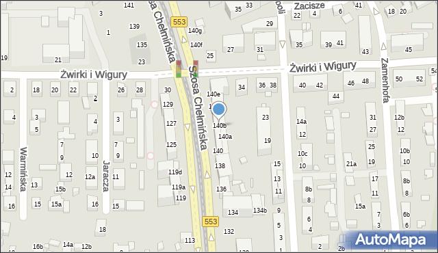 Toruń, Szosa Chełmińska, 140b, mapa Torunia