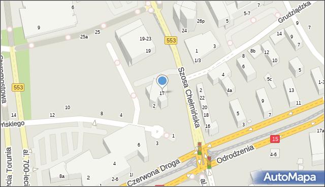 Toruń, Szosa Chełmińska, 17, mapa Torunia
