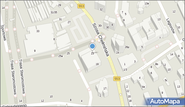 Toruń, Szosa Chełmińska, 23, mapa Torunia