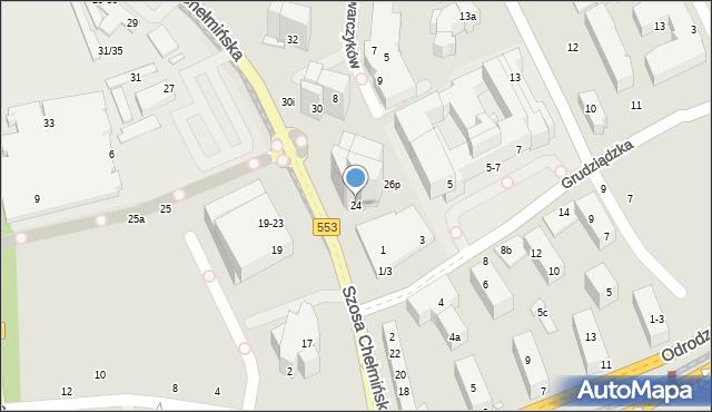 Toruń, Szosa Chełmińska, 24, mapa Torunia