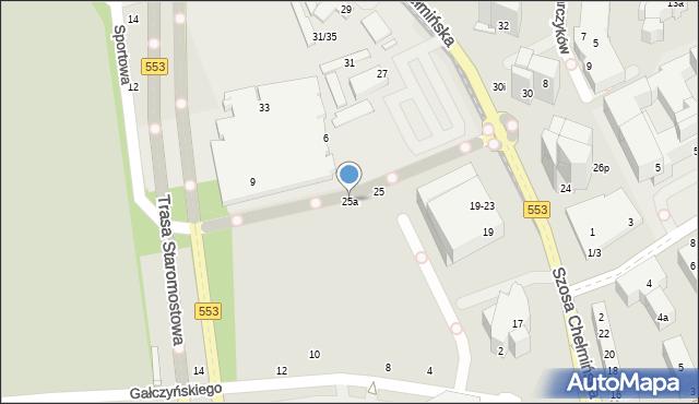 Toruń, Szosa Chełmińska, 25a, mapa Torunia