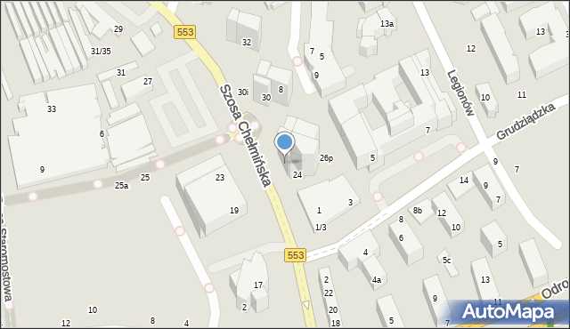 Toruń, Szosa Chełmińska, 26, mapa Torunia
