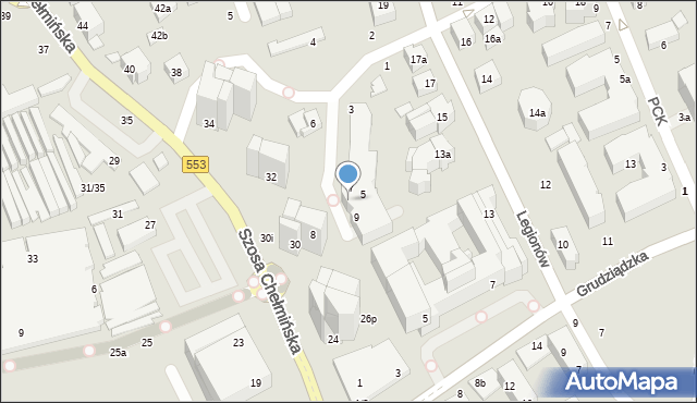 Toruń, Szosa Chełmińska, 30A, mapa Torunia