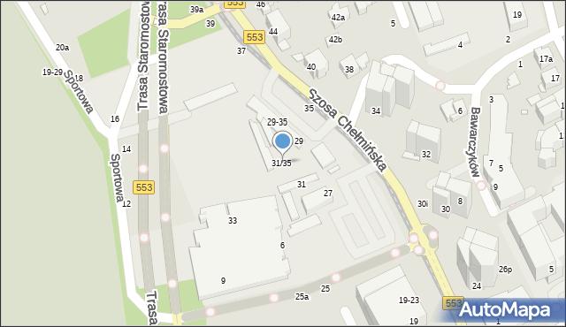 Toruń, Szosa Chełmińska, 31/35, mapa Torunia