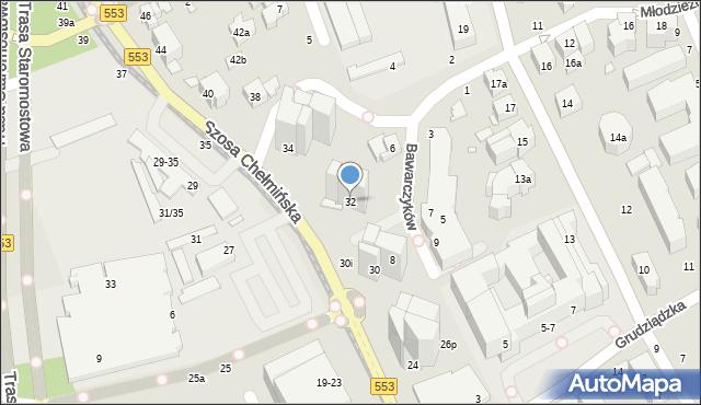 Toruń, Szosa Chełmińska, 32, mapa Torunia