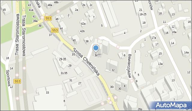 Toruń, Szosa Chełmińska, 34, mapa Torunia