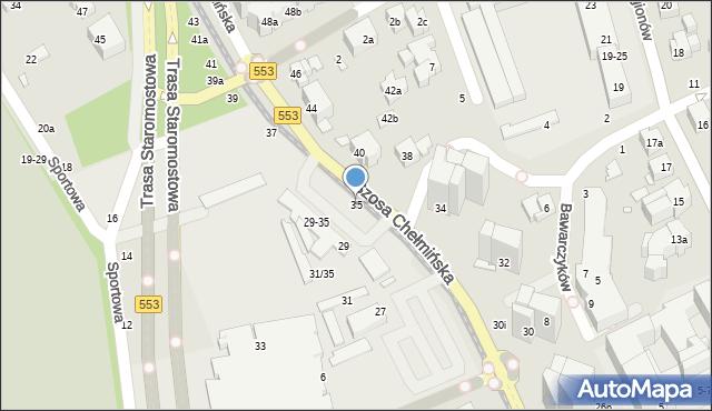 Toruń, Szosa Chełmińska, 35, mapa Torunia