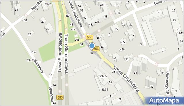 Toruń, Szosa Chełmińska, 37, mapa Torunia