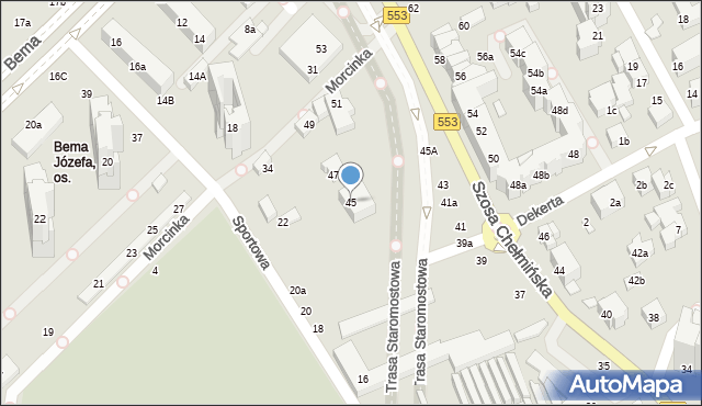 Toruń, Szosa Chełmińska, 45, mapa Torunia