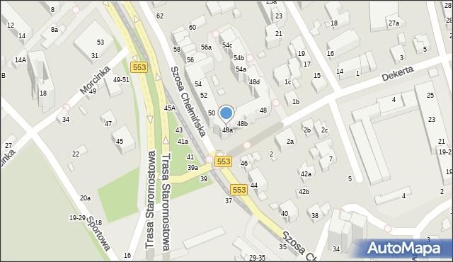 Toruń, Szosa Chełmińska, 48a, mapa Torunia