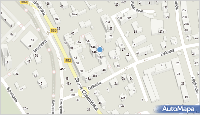 Toruń, Szosa Chełmińska, 48d, mapa Torunia