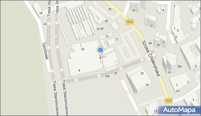 Toruń, Szosa Chełmińska, 6, mapa Torunia