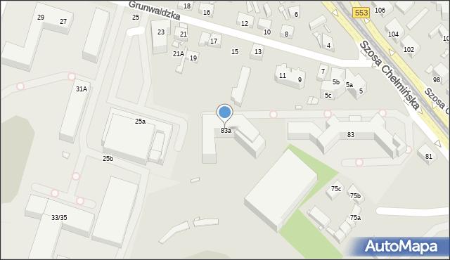 Toruń, Szosa Chełmińska, 83a, mapa Torunia