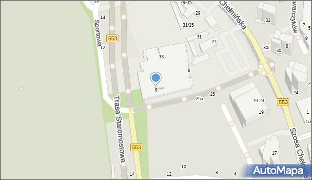 Toruń, Szosa Chełmińska, 9, mapa Torunia