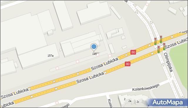 Toruń, Szosa Lubicka, 145, mapa Torunia