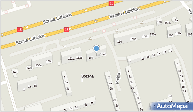 Toruń, Szosa Lubicka, 154a, mapa Torunia