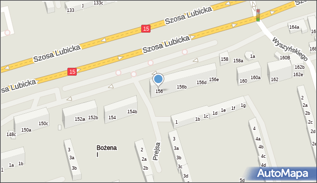 Toruń, Szosa Lubicka, 156, mapa Torunia