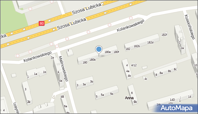Toruń, Szosa Lubicka, 180c, mapa Torunia