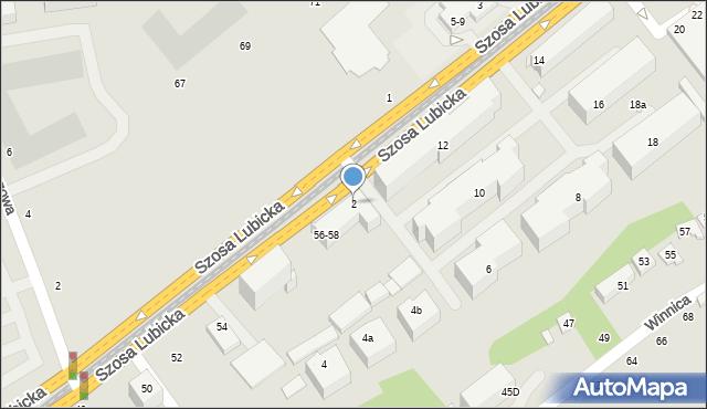 Toruń, Szosa Lubicka, 2, mapa Torunia
