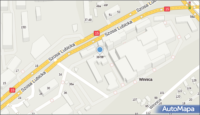 Toruń, Szosa Lubicka, 38-58, mapa Torunia