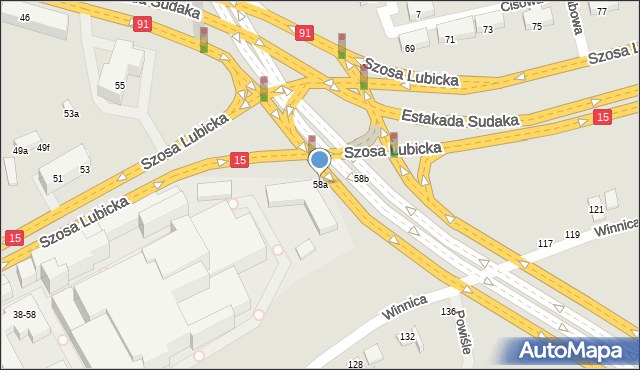 Toruń, Szosa Lubicka, 58a, mapa Torunia