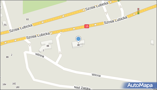 Toruń, Szosa Lubicka, 90, mapa Torunia