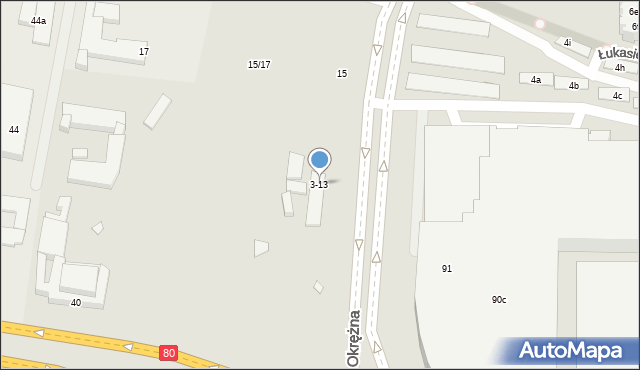 Toruń, Szosa Okrężna, 3-13, mapa Torunia